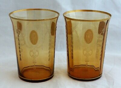 Set 2 Tiffin Glass Charmain Amber Gold Decorations 14196 Tumblers