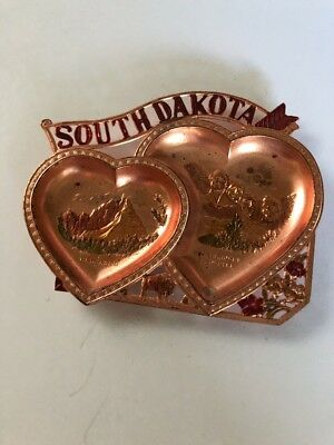 South Dakota Copper Vintage Metal Collectible Ashtray Souvenir Dish Japan