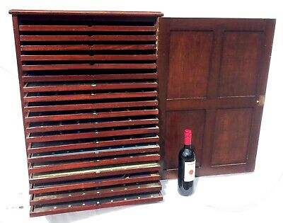 Antique Large Mahogany Specimen Coin Collectors Insect Cabinet With 19 Drawers
