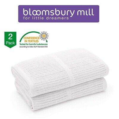 Bloomsbury Mill Baby Blanket Swaddle Comforter Cotton Soft Cellular White 2 Pack