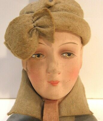 Antique Vintage Art Deco Boudoir Flapper Doll Woman's Head Wooden Hat Stand