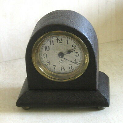 Antique Junghans Desk Table Mantle Clock Hand Made Leather Stand