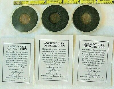(3) Ancient Bronze Urbs Roma Roman Coins 330 AD to 346 AD in plastic holders