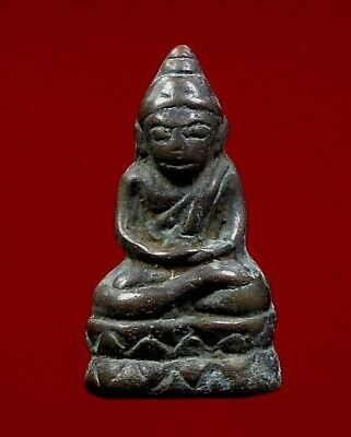 Thai Amulet rare Phra Laos Lanchang Buddha Statue Power Love Charm Luck Ancient