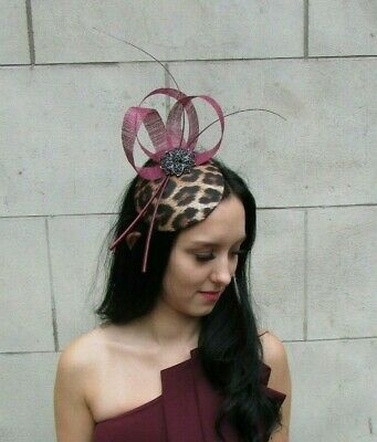 Burgundy Wine Red Black Feather Leopard Animal Print Hat Fascinator Races 7370