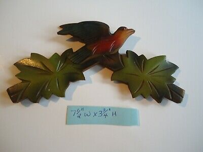 "Vintage 7-1/2"" Multi-color German Cuckoo Clock Wood Topper Bird With Leaves"