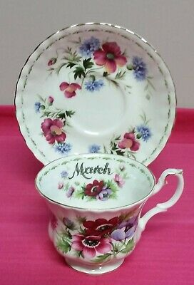 Royal Albert Flowers Of The Month March Anemones Tescup & Saucer Excellent Con