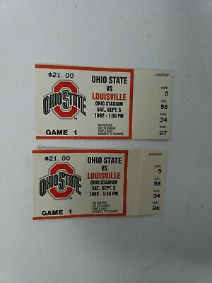 Pair of Ohio State Buckeyes vs Louisville Cardnials Sept 5 1992 Football Tickets