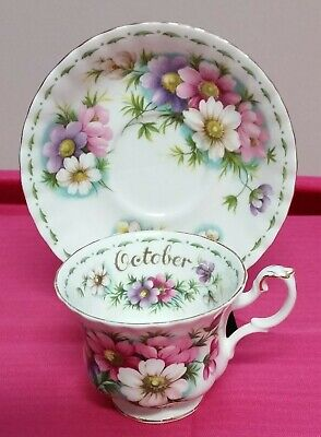 Royal Albert Flowers Of The Month October Cosmos Tescup & Saucer Excellent Con