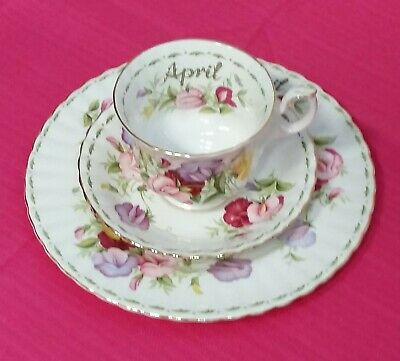 Royal Albert Flowers Of The Month April  Sweat Pea Trio Salad Plate cup & saucer