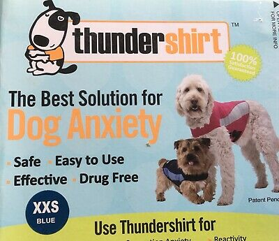 NEW Thunder Shirt XXS Calming Anxiety Solution Relief BLUE T-Shirt Wrap Dogs