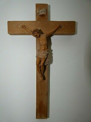 """Vintage ANRI Italy Hand Carved Wood Jesus On The Cross~ 9 1/2"""" tall"""