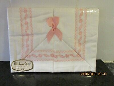 Pair Of Vintage Embroidered White Pillowcases Cotton
