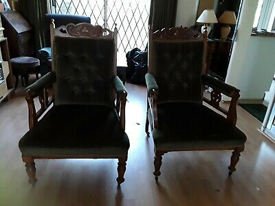 Antique Pair of Victorian Fireside Chairs, Gentlemans Chairs.  Good condition.