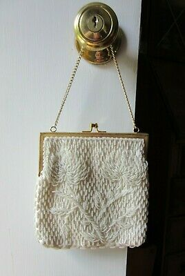 9c9cdf2e8e9 SIMON MR ERNEST Vintage Raffia Beaded Clutch Handbag Purse Cream/Off ...