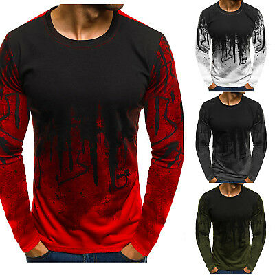 Mens Long Sleeve Round Neck T-Shirt Tie Dye Printed Cotton Casual Tops Blouse UK