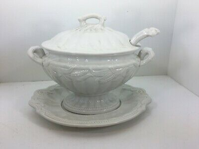 Vintage Red Cliff Iron Stone Oval Soup Tureen Wheat Pattern- Beautiful!