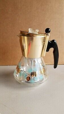 *NOS, Douglas Flameproof Perculator Coffee Pot Glass Pinecone Design Stem Basket