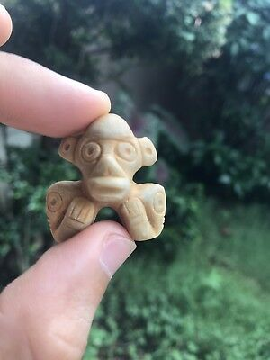 Taino Pre Columbian White Brown Stone Pendant Unique Antique