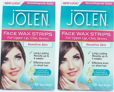 Jolen Face Facial Wax Strips Sensitive Skin Upper Lip Cheeks 2 x 16