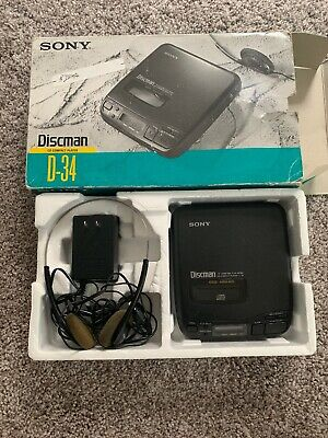 Sony Discman D-34 Portable CD Player in Box Tested and Working