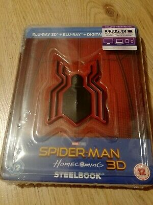 Marvel Spiderman Homecoming 3D/2D Blu Ray Steelbook with Vinyl Magnet. Sealed