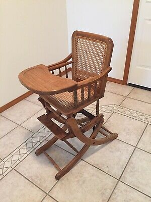 Adjustable Vintage Antique High Chair Changes To Rocker Caned Back And Seat
