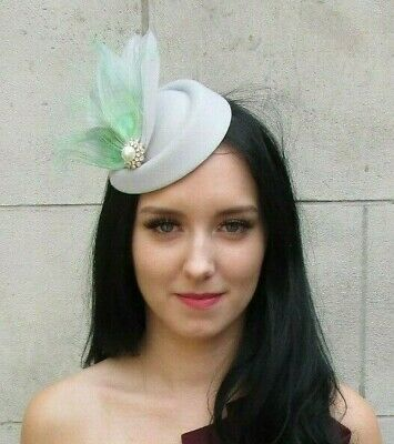 Mint Green Grey Silver Peacock Feather Pillbox Hat Hair Clip Fascinator Vtg 7377