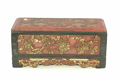 Antique Chinese Red & Gilt Wooden Carved Altar Box w flower design, Qing, 19th c