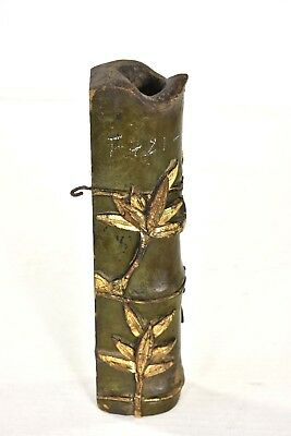 Antique Chinese Green & Gilt Carved Wooden Vase / Incense Holder w Bamboo Decor