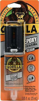 Gorilla 2 Part Epoxy, 5 Minute Set, Strong, Permanent, .85 Oz Syringe, Clear
