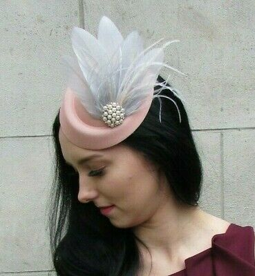 Peach Pink Light Grey Cream Feather Pillbox Hat Hair Fascinator Clip Races 7387