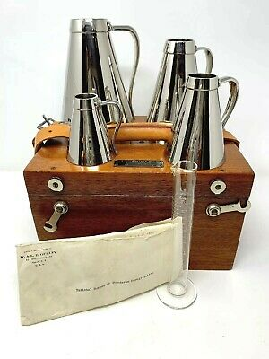 W & L.E. Gurley Nickel Conical Liquid Capacity Measures Set With Case