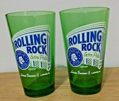 Set of 2 Green Rolling Rock Extra Pale Premium Large Beer Glasses Mint Cond