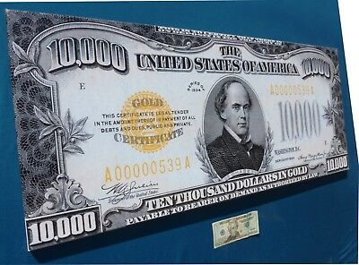 *1934 Chase $10000 Gold Certificate Federal Reserve Banknote Limited Canvas Art