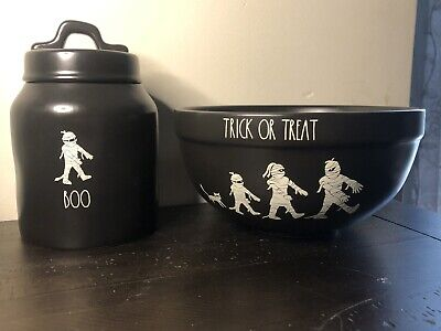 Rae Dunn Trick Or Treat Boo Halloween Black Bowl Cannister Set New