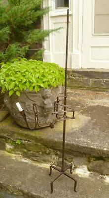 Great Old Wrought Iron Rushlight Blacksmith Candle Stand Primitive Lighting NR