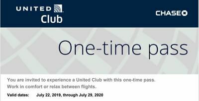 2 passes for United Club One Time Pass Exp 07/29/2020