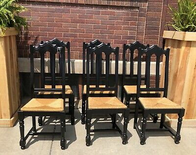 Vintage Wood Dining Chairs Dining Chairs Painted Black With Woven Seats