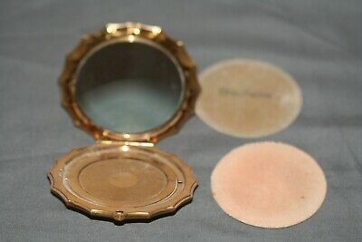 Vintage Art Deco Style Clam Shell 1940s Brass Elgin American Mirrored Compact