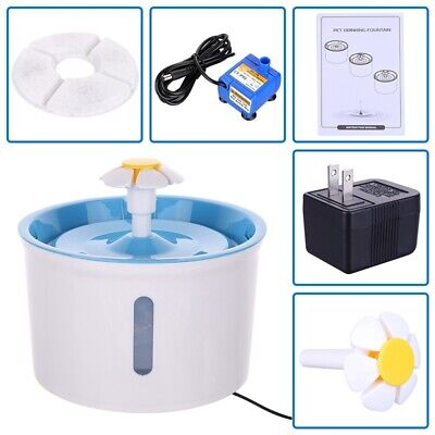 1.6L Flower Automatic Electric Pet Dog Cat Water Fountain Drinking Bowl AU Plug
