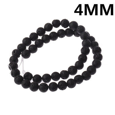 4mm Black Round Lava Stone Loose Beads 15 inches Accessories DIY Wholesale
