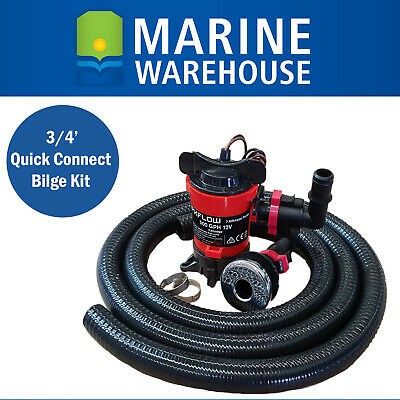 Johnson 500 Bilge Pump Kit / W Quik Connect  + SS Skin Fitting & Clamp MD-00204B