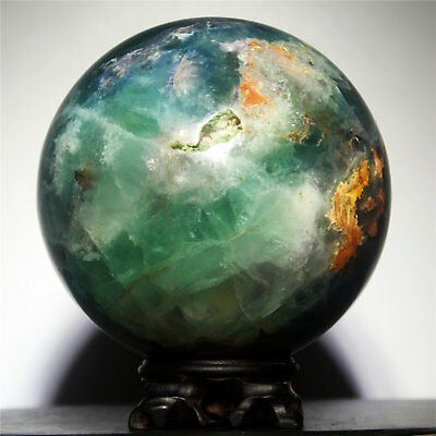 """5.3"""" 4415g Polished Green Fluorite Quartz Crystal Sphere Ball w/Rosewood Stand"""