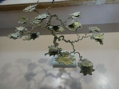 Large WIRE BONSAI TREE .Copper.Marked 'Original Work by Geml 1980.Marble base.