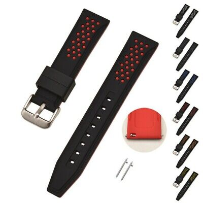 Silicone Rubber Watch Band Wristband Strap&Spring Bars Waterproof 20/22/24/26mm