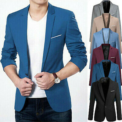 Mens Blazer Slim Fit Business Formal Suit One Button Coats Wedding Party Jackets