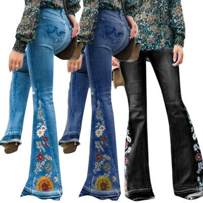 Womens Embroidery Jeans Flares Trousers Bell Bottoms Denim High Waist Slim Pants