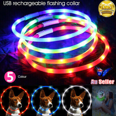USB Rechargeable LED Dog Collar Band Leash Glow Light Up Pet Collars Waterproof