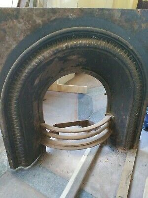 Rare Victorian arched cast iron fireplace insert